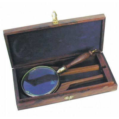 Luup puidust käepidemega, karbis 23,5 cm, läbimõõt 10 cm, Merenodi