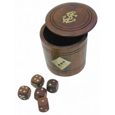 Täringud puidust karbis 7,5 cm, läbimõõt 6/7,5 cm, Merenodi