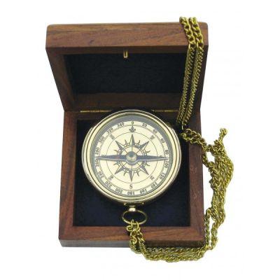 Kompass ketiga, ankur,  läbimõõt 6 cm, puidust karbis 7,5x8x3,5 cm , Merenodi