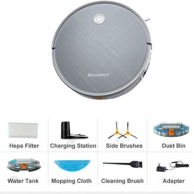 Mamibot Vacuum cleaner Exvac660 Wet&Dry, Operating time (max) 100 - 120 min, Lithium Ion, 2600 mAh, Dust capacity 0.6 L, Grey, Battery warranty 12 month(s)