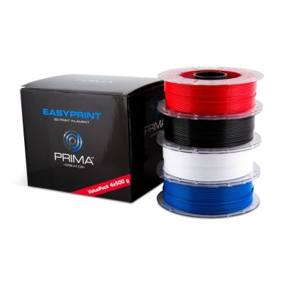 PLA filamentide komplekt EasyPrint 3D-printerile, Standard 1.75mm, 4 x 500g - Valge, Must, Sinine, Punane