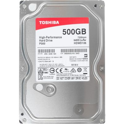Kõvaketas HDD Toshiba P300 High-Performance Hard Drive 500GB Bulk 7200rpm 64MB SATA 6.0Gbit/s 2YW