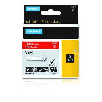 Kleepkirjalint Dymo 12mm, valge/punasel RHINO Tape 1805416 White on Red, Coloured Vinyl 5,5m