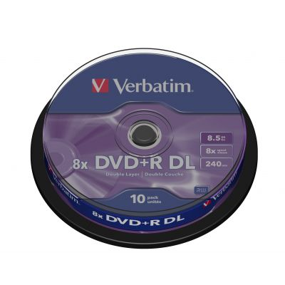 DVD+R Verbatim 8,5GB Double Layer 240min 8x, Cake 10 (10 tk tornis) Matt Silver, AZO recording layer