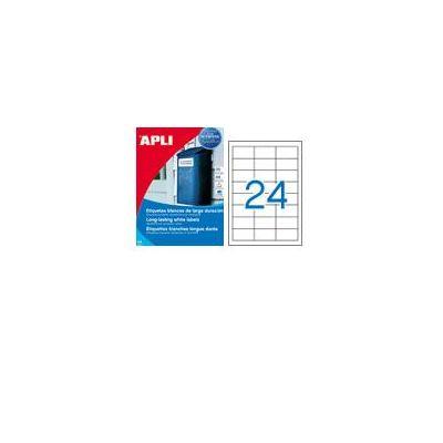 Etikett APLI 64,6x33,8 Ref.1226, valge polüester, 20lehte pakis, ilmastikukindel