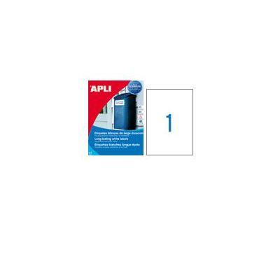 Etikett APLI 210 x 297 Ref.1228 valge polüester, 20lehte pakis, ilmastikukindel