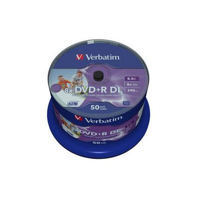 DVD+R Verbatim 8,5GB Double Layer 240min 8x, Cake 50 (50 tk tornis) Wide Printable