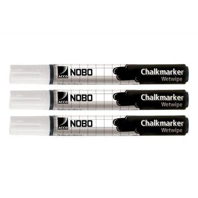 Kriidimarker Nobo Liquid Chalkmarker Wetwipe 3 Pack White (valge) 4mm Nib - mittetolmav vedelkriidi marker klaastahvlitele