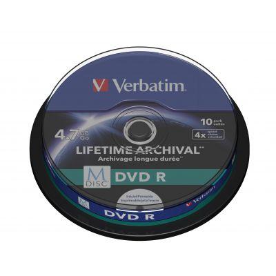 DVD-R Verbatim M-Disc 4,7GB 120min 4x Inkjet printable 10-pack cake, Lifetime Archival