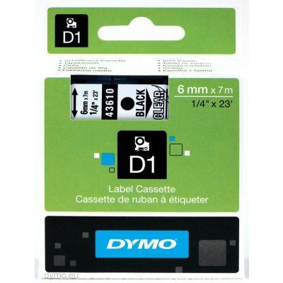 Kleepkirjalint Dymo 6mm, must/läbipaistval 43610 D1 Tape Clear/Black 7m