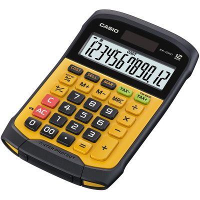Lauakalkulaator Casio WM-320MT, väike, kollane, niiskuse- ja tolmukindel IP54, 12 kohaline, Casio loogika