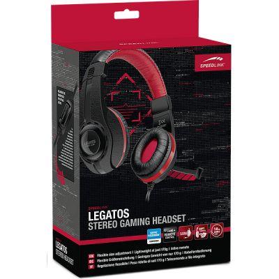 Kõrvaklapid+mikrofon Speedlink Legatos Stereo Headset 40mm, black pistikud 2x3.5mm stereo+mic, kaabel 1.8m, heliregulaator kaablil