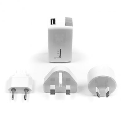 USB-laadija/akupank Targus APD752EU 2-in-1 USB Wall Charger and 2100mAh Power Bank White, AU/US/UK/EU seinapistikud 140gr 2YW