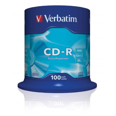 CD-R Verbatim 700MB 80min 52x Cake 100, Extra Protection, Recordable, 100 toorikut tornis