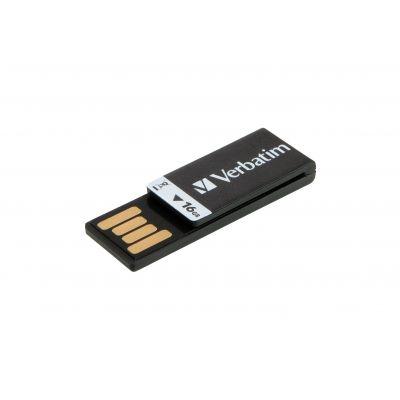 USB-mälupulk Verbatim 16GB USB2.0 Clip-It Black/must kirjaklambri disain 2grammi
