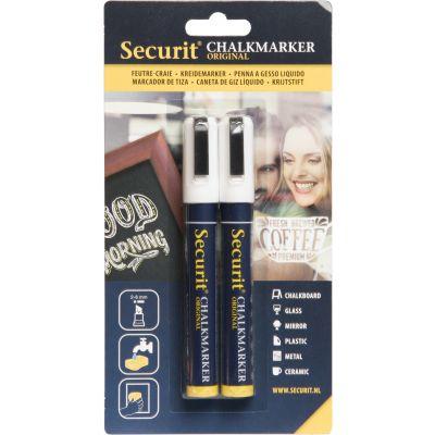 Tahvlimarkerid SECURIT Liquid Medium valge, kriiditahvlile 2-6mm, pakis 2 tk/ kompl.