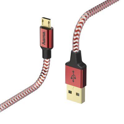 USB-kaabel USB-A microUSB 1.5m Hama Charging/Data Cable Red(punane), kullatud kontaktid, topeltvarjestus, valatud väikesed pistikud