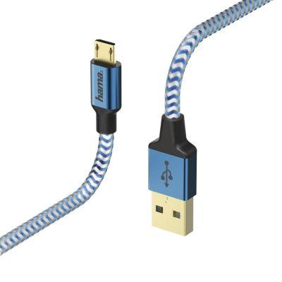 USB-kaabel USB-A microUSB 1.5m Hama Charging/Data Cable Blue(sinine), kullatud kontaktid, topeltvarjestus, valatud väikesed pistikud