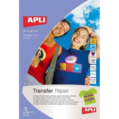 Etikett APLI 210x297 (tume) värvilisele T-särgile/ coloured T-Shirt 5lehte pakis, tindiprinterile, Ref. 4128