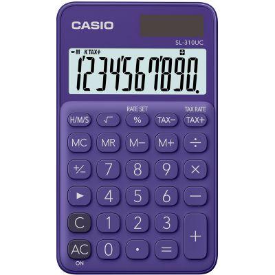 Taskukalkulaator Casio SL-310UC Purple/lilla - 10 kohaline, tava- ja päikesepatarei, 50gr, 8x70x118mm, kaasas ümbris, Casio loogika
