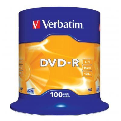 DVD-R Verbatim 4,7GB 120min 16x Cake 100, Advanced AZO+ Protection, Recordable, 100 toor ikut tornis