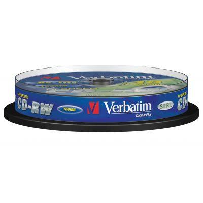 CD-RW Verbatim 700MB 80min 12x Cake10, HighSpeed, SERL Protection, 10 toorikut tornis