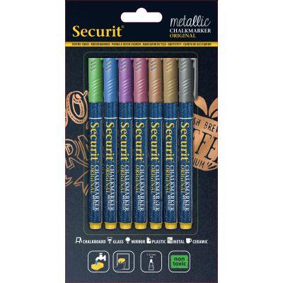 Tahvlimarkerid SECURIT Liquid Small Metallic, kriititahvlile 1-2mm, pakis 7 erinevat värvi / kompl.