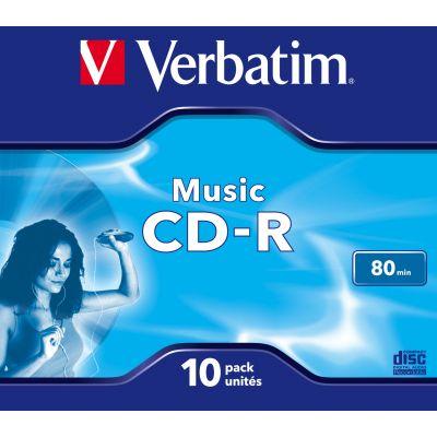CD-R Verbatim Audio Music 80min (700MB) Jewel 10 (tavakarp, 10tk pakis) matt silver surface