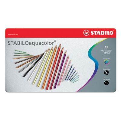Akvarellpliiats metallkarbis Stabilo aquacolor, 36 värvi
