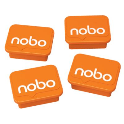 Tahvlimagnet Nobo Whiteboard Magnets Orange (4tk komplektis) 18x22mm , hoiab valgetahvlil kuni 4 A4 paberilehte korraga