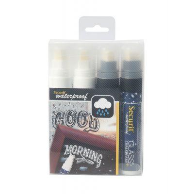 Tahvlimarkerid SECURIT Waterproof, kriidi-ja klaastahvlile 7-15mm, pakis 2 valget ja 2 musta/ 4 tk kompl.