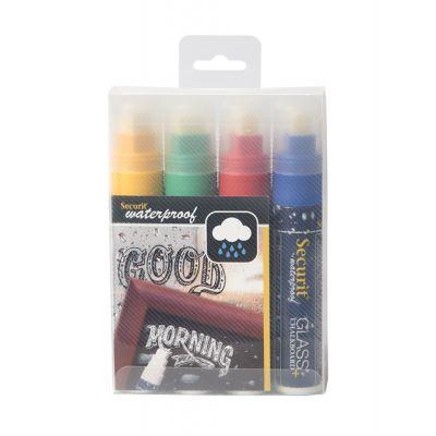 Tahvlimarkerid SECURIT Waterproof, kriidi- ja klaastahvlile 7-15mm, pakis 4 värvi: kollane, roheline, punane, sinine/ 4 tk kompl.