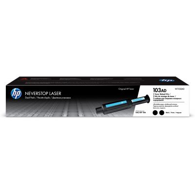 Tooner HP 103A W1103ADouble 2-pack Black/must 2x2500lk toner refill for Neverstop Laser 1000a/1000w, MFP1200a/1200w