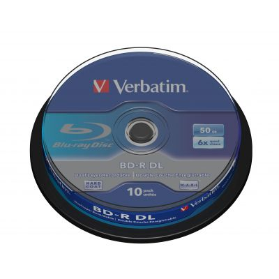 BD-R Verbatim 50GB DL 6x Disc Cake 10 spindle, (10tk tornis) White Blue surface