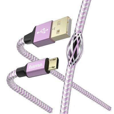 USB-kaabel USB-A microUSB 1.5m Hama Charging/Data Cable Lavender, kullatud kontaktid, topeltvarjestus, valatud väikesed pistikud