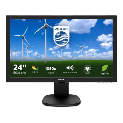 """Monitor Philips 243S5LJMB 23.6"""" FullHD 1000:1 1ms HDMI, DVI-D, VGA, DisplayPort PIVOT USB-hub kõlarid must"""