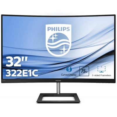 "Monitor Philips 322E1C/00 31.5 "", VA, 1920x1080 FullHD, Curved, 16:9, 4 ms, 250 cd/m², VGA/DP/HDMI, Black"