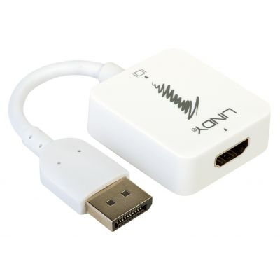 Konverter HDMI (F) -> Displayport (M), 2160p 4K@30Hz (Displayport monitorile) 0.15m valge