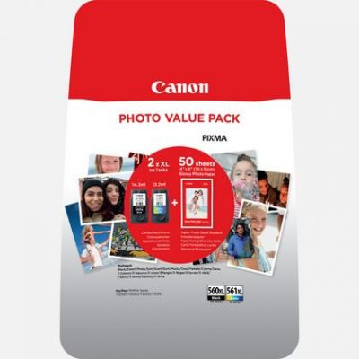 Tint Canon PG-560XL/CL-561XL Photo Value Pack CMYK, fotopaber 50l 10x15cm GP-501, for PIXMA TS5350 TS5351 TS5352 TS5353