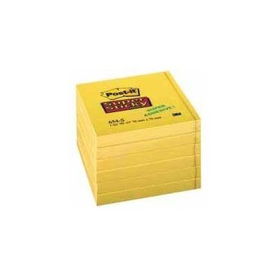 Märkmepaber iseliimuv POST-IT 654SS SuperS, kollane,76x76mm (pakis 6x90l.)
