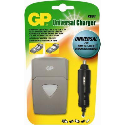 Akulaadija komplekt GP KB04 universaalne 12V auto/220V seina Foto ja video kaamera aku 3.6V/3.7V/7.2V/7.4V laadija 800mA 15-24V, AA/AAA