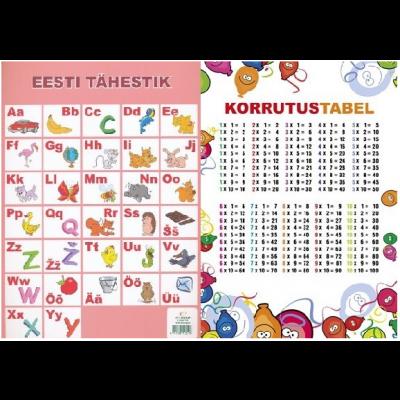 Õppekaart Eesti tähestik/korrutamine A4
