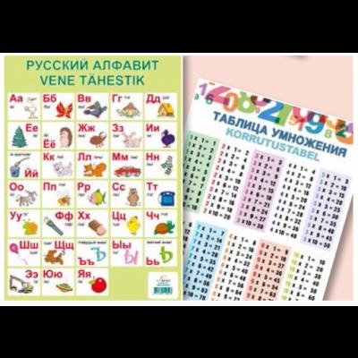 Õppekaart Vene tähestik/korrutamine A4