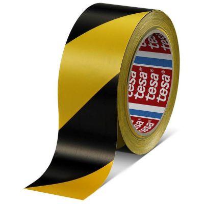 Ohuteip Tesa Kollane-must kaldjoonega 50mm x 33meetrit (ohutusteip)