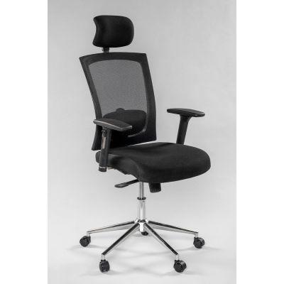 Töötool VIRGINIA 5210 peatoega, reg. käetoed, seljatugi must võrk/ kandevõime kuni 140kg /must kangas, jalarist kroom