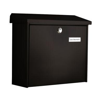 Postkast COMFORT nimesildihoidjaga L38xK34x14,8cm/galvaniseeritud metall+värv/must