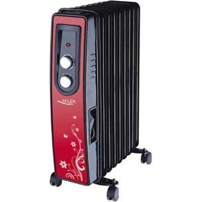 Õliradiaator Adler AD 7802 - 9ribi, 2000W, termostaat, punane esipaneel/must korpus,