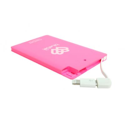 Akupank Bluebiit PowerCard 2500mAh Portable Pink/roosa (microUSB + Lightning adapter)