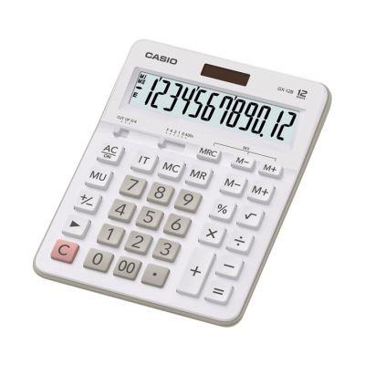 Lauakalkulaator Casio GX-12B valge/White 12-kohaline, tava- ja päikesepatarei, 245gr, 34,3x159x207,5mm, Standardloogika