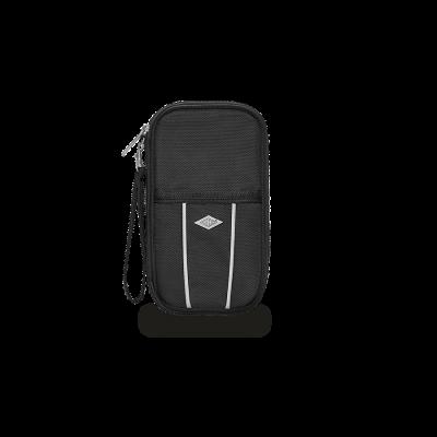 Wedo 592601 Polyester Travel Organiser Passport and Travel Documents, 8 Pockets, Zipper And Detachable Hand Strap 14.4 x 3 x 14 cm Black